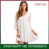 Commercio all'ingrosso bianco elegante del vestito dal merletto delle signore di alta qualità