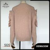 ロータス肩の女性ピンクのかわいい方法セーター