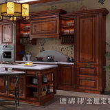 Gabinete de cozinha luxuoso da madeira contínua do carvalho da mobília da cozinha