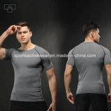 T-shirt fait sur commande d'hommes de sport du T-shirt de Spandex des hommes élevés en gros de gymnastique