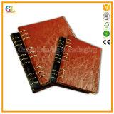 Cahier en cuir d'écriture pointillé par taille faite sur commande (OEM-GL018)