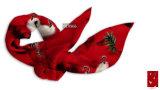 赤い戴冠させたクレーンパターン絹のスカーフ