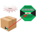 Dans le monde entier de la logistique des étiquettes d'expédition Montage d'un indicateur de choc Shockwatch