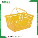 Paniers à provisions en plastique de double traitement en plastique pour le supermarché