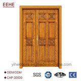 Внешний деревянный франчуз двери дверей входа деревянный с неравными двойными листьями