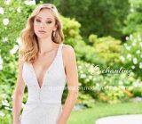 Vestido de casamento nupcial de viagem Z3009 da praia formal Backless do jardim dos vestidos do partido do laço