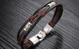 Armband van het Leer van de Gesp van de Legering van het Brons van de Juwelen van de Charme van de manier Multilayer Echte voor de Giften van de Vriend van Mensen