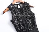 Sequined волокно полиэфира марли + рубашка эластического волокна
