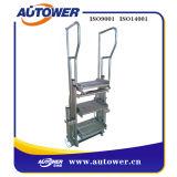 Escaleras plegables de la plataforma del acero inoxidable con la barandilla