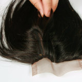 Chiusura con i capelli naturali dell'indiano del merletto della parte dei capelli del bambino