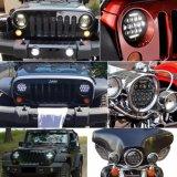 Het e-TEKEN van de fabriek 12V 24V 75W Goedkope 7 Duim om LEIDENE Koplamp met het DrijfLicht van Wrangler van de Jeep van de Straal DRL hallo Lo