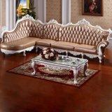 Sofà d'angolo di cuoio con il blocco per grafici di legno del sofà (805)