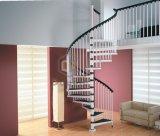 El grano de madera camina la escalera de acero del pasamano de las escaleras de acero de la escalera espiral