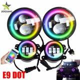 Halo grossista Angel Eye RGB redonda 7 polegadas 4 polegadas de carro automático dos faróis de nevoeiro de LED para Wrangler