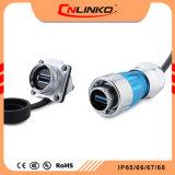 El doble de la SAE USB 3.0 Cable de montaje en panel de recipiente circular de agua IP65, el conector