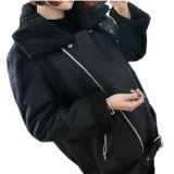 2017new arropa la chaqueta negra del invierno con la cremallera, abajo chaqueta