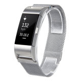 Корпус из нержавеющей стали магнитом металлические полосы браслет ремешок с застежкой на Fitbit зарядка 2