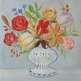 Frische bunte Blume mit einem Vasen-handgemachten Ölgemälde-Ausgangsdekor