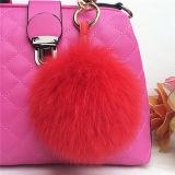 Милый розовый шарик Keychain/орнаменты шерсти Fox способа для шлемов