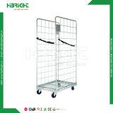 Recipiente Foldable e Nestable do armazenamento do armazém do engranzamento do rolo Cagetrolley/do rolo