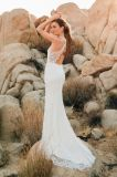 Vestido de casamento Backless Lb18034 do Fishtail da V-Garganta do vestido nupcial de 2018 laços