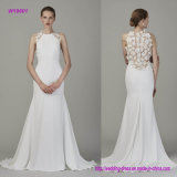 Classice Sleeveless eine Zeile Hochzeits-Kleid mit den Blumen 3D Appliqued auf der Rückseite