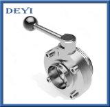DINの標準ステンレス鋼SS304の衛生溶接糸によって通される蝶弁
