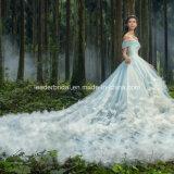 Голубые мантии 3D шарика цветут Tulle Wedding Bridal платья Z5004