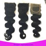 100% não processados Atacado Virgin Peruvian Body Wave Hair Closure 4 * 4inch