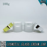 vaso crema di vetro cosmetico glassato 100ml con il coperchio di alluminio