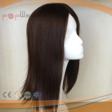Hand Tied Cabelo Humano Brown Color Poly Around Perimeter Toupee Hair Piece