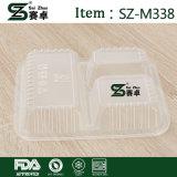 使い捨て可能なお弁当箱の長方形の3つのセル透過ファースト・フードボックスプラスチックテーブルウェア