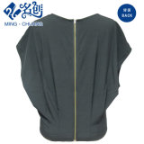 Dark Blue Loose Round Collar à manches courtes Ladies Leisure Blouse