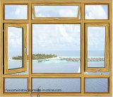 La Chine du grain du bois aluminium finition Fenêtre à battant