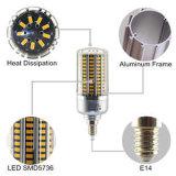 LEDのトウモロコシライトE14 20W Wram白い銀製カラーボディLED球根ランプ