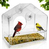 庭の取り外し可能な滑走の皿および吸引のコップが付いているアクリルのWindowsの鳥の送り装置