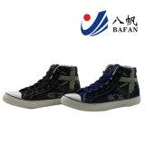Form-Höhen-wuschen Schnitt vulkanisierte Segeltuch-Schuhe Denim-Oberleder