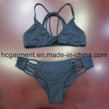 유행 섹시한 파란 색깔 여자 2 피스 바닷가 착용 비키니 수영복 한 벌