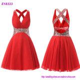 Eleganter Stutzen des Rot-O eine Zeile Chiffon- Sleeveless Abend-Kleider mit dem Bördeln des kurzen Längen-Abend-Kleides
