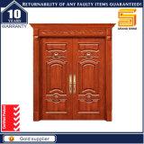 Porte principale en bois solide de Double-Lame de villa avec la tête de porte