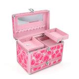 Коробка косметики PU портативная пишущая машинка профессионального двойника алюминиевого сплава открытая разнослоистая