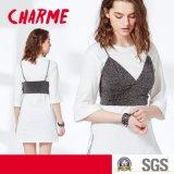 Ladies Two Pieces Set T-Shirt avec Lingerie Sequin Condole Belt Vest Blouse
