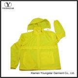 Veste coupe-vent jaune à capuche légère imperméable à l'eau