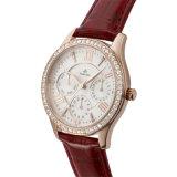 Ursprünglicher Quarz-Bewegungs-Edelstahl-Deckel-wasserdichte lederne Diamant-Uhr für Damen 71282