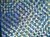 Ткань сетки с синью напечатанной МНОГОТОЧИЕМ с серебряным МНОГОТОЧИЕМ напечатала