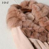Genuine Shearing Leather新しいデザイン女性および毛皮のジャケット長い様式のキツネの毛皮