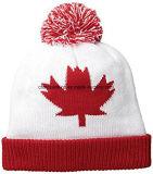 Chapéu adulto do inverno de Canadá da folha do jacquard do Toque do norte verdadeiro com POM POM