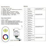 12-24V DC 5のキーの調光器RFの接触LEDのためのアルミニウムシェルRGB制御は18A黒を除去する