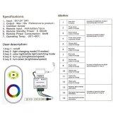 12-24V DC 5 키 제광기 RF 접촉 LED를 위한 알루미늄 쉘 RGB 통제는 18A 검정을 분리한다