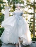 Blanco sin tirantes de partida en cascada de las colmenas del vestido de bola del vestido de boda Yao91